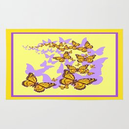 Lemon-yellow Monarch Butterflies Lilac Shadow Art Rug