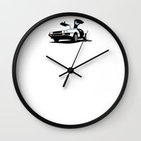 delorean Wall Clocks featuring Delorean - Ghost Image 1 by Geoff Ombao Car Art