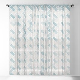 Dusty shabby blue and natural straw 2 Sheer Curtain