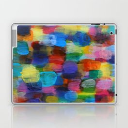 Colorful Abstract Art Brushstrokes in Yellow, Blue, Turquoise Laptop & iPad Skin
