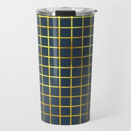 Blue & Gold Grid Travel Mug