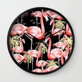 Pattern of flamingos among golden palm trees I Wall Clock