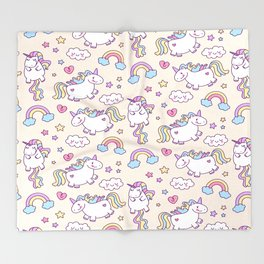 Unicorns and Rainbows Throw Blanket