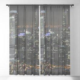 city at night lights skyline Sheer Curtain