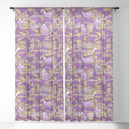 Book Collection in Purple Sheer Curtain