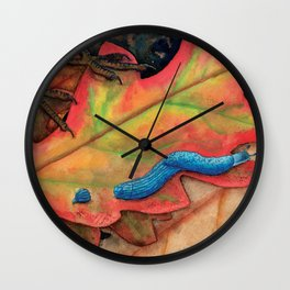 Blue-Grey Taildropper Slug on the Move Wall Clock