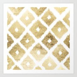 Modern chic faux gold leaf ikat pattern Kunstdrucke
