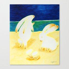Bongo Bunnies Dancing in the Moonlight on the Beach Canvas Print