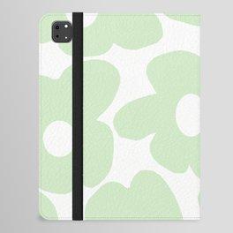 Large Baby Green Retro Flowers White Background #decor #society6 #buyart iPad Folio Case