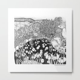 Zentangle Vermont Landscape Black and White Illustration Metal Print