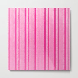 Retro Pink Grunge Primitive Stripe Metal Print