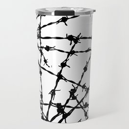 Black and White Barbed Wire Travel Mug