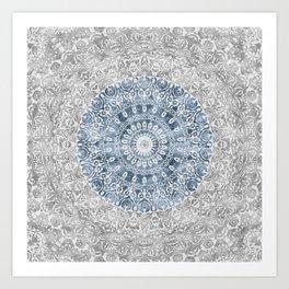 New Vintage Floral Mandala Ink Blue Art Print