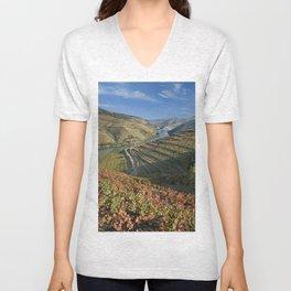 Douro Valley vineyards in autumn Unisex V-Neck