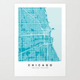 Chicago Map | Blue & Cyan Colors Art Print