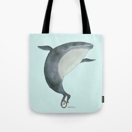 Whale Unicycle Tote Bag