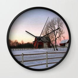 Winter Ranch Wall Clock