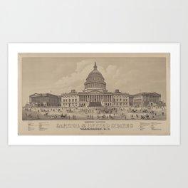 Vintage US Capitol Building Illustration (1882) Art Print