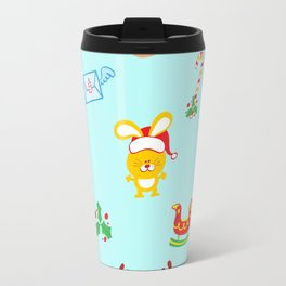 Cute Santa Claus, reindeer, bunny and cookie man Christmas pattern Travel Mug