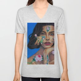 Mujer con flores Unisex V-Neck