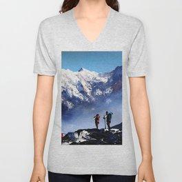 Panoramic View Of Ama Dablam Peak Everest Mountain Unisex V-Neck