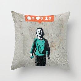 Banksy, social life, likes Throw Pillow