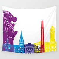 singapore Wall Tapestries featuring Singapore skyline pop by Paulrommer