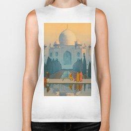 Morning Mist in Taj Mahal Vintage Beautiful Japanese Woodblock Print Hiroshi Yoshida Biker Tank