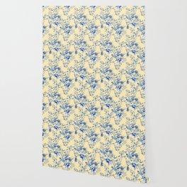 Chinoiserie Flowers Blue on Lemon Honey Creme Wallpaper