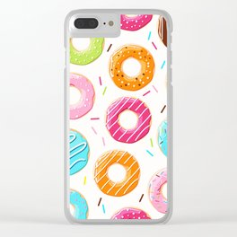 Colorful top view donuts and sprinkles pattern Clear iPhone Case