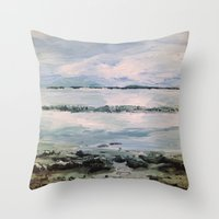 maine Throw Pillows featuring Maine by Samantha Crepeau