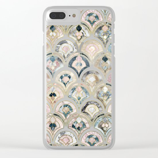 Art Deco Marble Tiles in Soft Pastels Clear iPhone Case