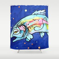 trout Shower Curtains featuring Trout Pout by waggytailspetportraits