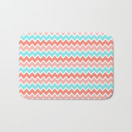 Coral Peach Pink and Aqua Turquoise Blue Chevron Bath Mat