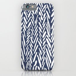 Boho chevron herringbone stripe pattern - midnight blue iPhone Case
