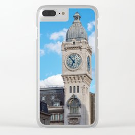 Clock Tower of the Gare de Lyon in Paris Clear iPhone Case