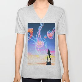 Jelly Clouds Assemblage Unisex V-Neck