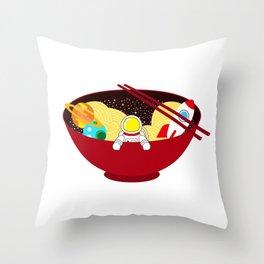 Space Odyssey Ramen | Astronaut Ramen | Bowl of Space Ramen | Galaxy in a Bowl | pulps of wood Throw Pillow