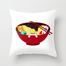 Space Odyssey Ramen | Astronaut Ramen | Bowl of Space Ramen | Galaxy in a Bowl | pulps of wood Throw Pillow