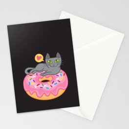 My cat loves donuts 2 Stationery Cards