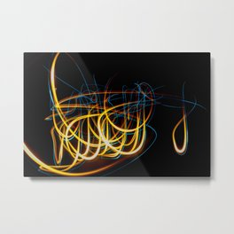 Abstract Orange and Blue Light Effect Metal Print