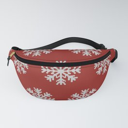 Knitted snowflakes Christmas pattern on red Fanny Pack