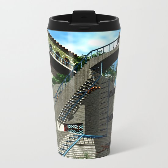 Optical Illusion - Tribute to Escher Metal Travel Mug