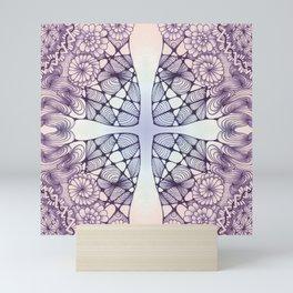 Purple Wash Zentangled Cross Tile Doodle Design Mini Art Print