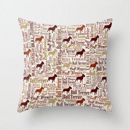 Bull Terrier Dog Word Art pattern Throw Pillow