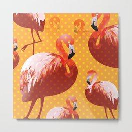 Watercolor Flamingo Pattern 2 Metal Print