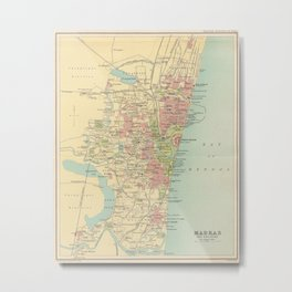 Vintage Map of Madras India (1909) Metal Print
