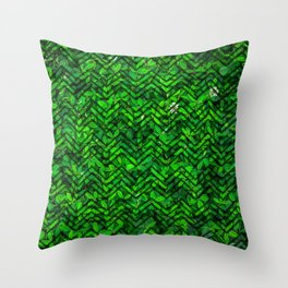 Don't leaf me (Vibrant green grass and clover meadow with chevron pattern) Throw Pillow