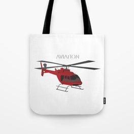 Red Vector Helicopter Tote Bag