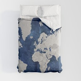 Dark blue watercolor and grey world map Comforters